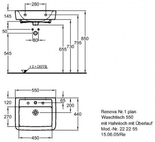 Häufig Renova Nr.1 Plan Waschtisch 550 x 440 mm mit Hahnloch und Überlauf SG84